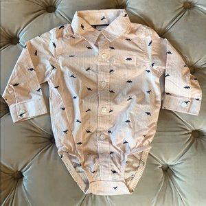 Carter's pink & navy dino dress shirt (6-9 months)